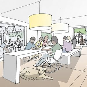 Drawing of cafe interior with table, dog and person in a wheelchair